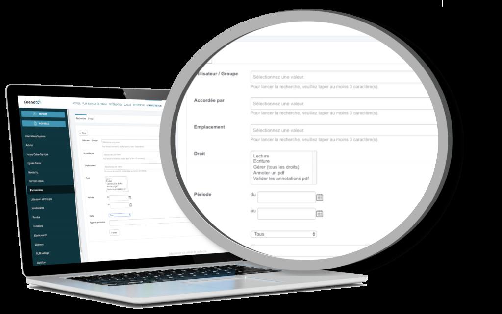 Gestion des droits d'accès des logiciels Keendoo
