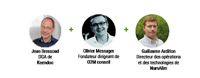 Table ronde Innovation éco-responsable et données produit, le 1er juillet 2021 avec Jean Bressoud, DGA de Keendoo, Olivier Messager, Fondateur dirigeant de O2M Conseil, Guillaume Ardillon, directeur des opérations et des technologies de Num, animée par une journaliste de RIA La Revue de l'industrie Agroalimentaire.
